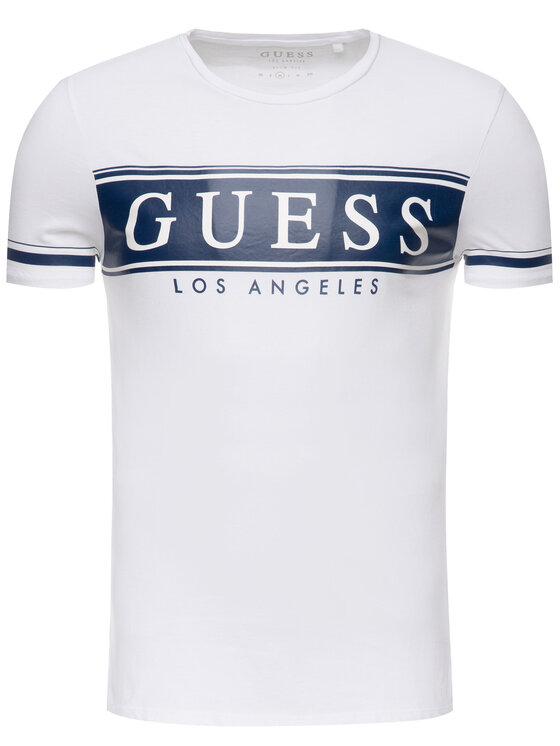 Guess Guess Tričko M93I49 K8HM0 Biela Slim Fit