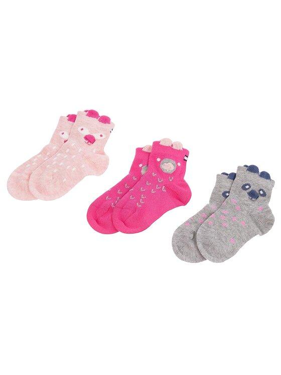 TOMMY HILFIGER TOMMY HILFIGER Комплект 3 чифта дълги чорапи детски 485016001 Розов
