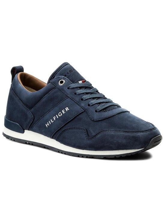Tommy Hilfiger Tommy Hilfiger Sneakersy Iconic Nubuck Leather Runner FM0FM01437 Tmavomodrá