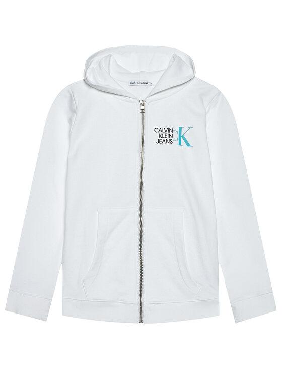 Calvin Klein Jeans Calvin Klein Jeans Bluza Hybrid Logo Zip IB0IB00800 Biały Regular Fit