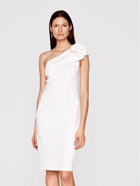 Babylon Kokteilinė suknelė N_MF5012 Balta Slim Fit