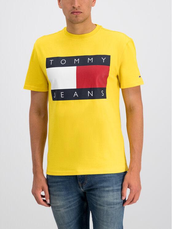 Tommy Jeans Tommy Jeans Tričko Flag Logo DM0DM07009 Žltá Regular Fit