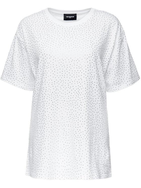 The Kooples The Kooples T-Shirt Jersey And Strass FTSC18052K Bílá Oversize