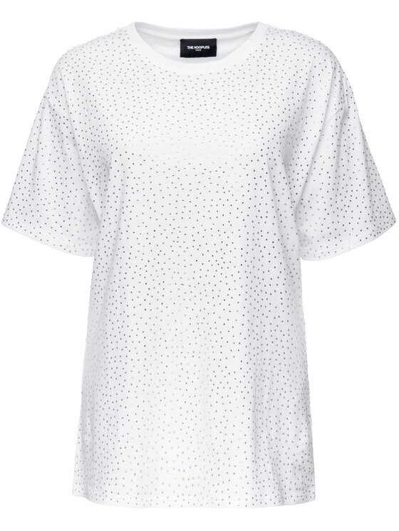 The Kooples The Kooples T-Shirt Jersey And Strass FTSC18052K Λευκό Oversize