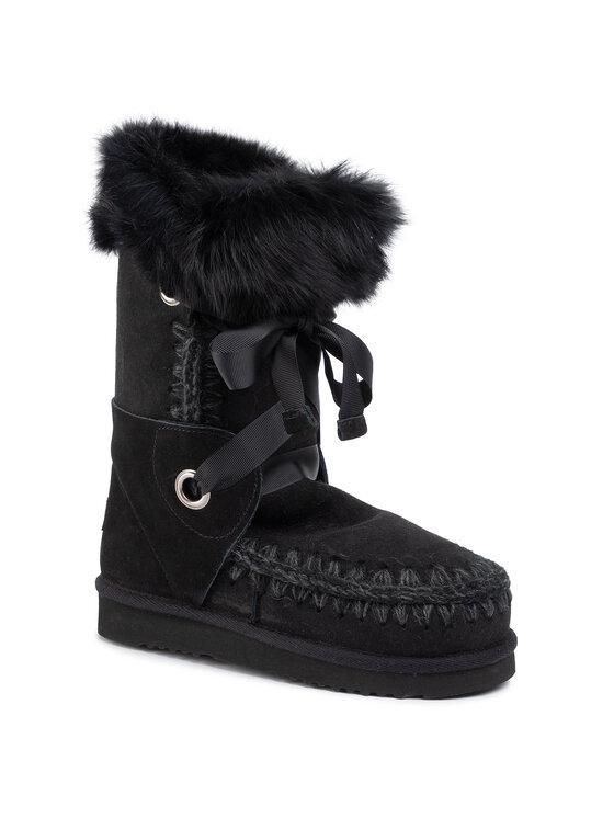 Mou Mou Chaussures Eskimo Lace And Fur Noir