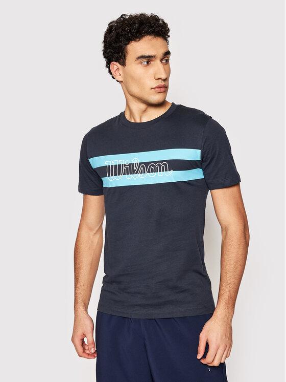 Wilson Marškinėliai Chi Script Ctn Tee WRA790901 Tamsiai mėlyna Slim Fit