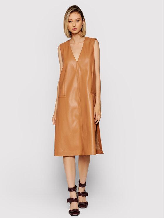 Liviana Conti Dirbtinės odos suknelė F1WT09 Ruda Regular Fit