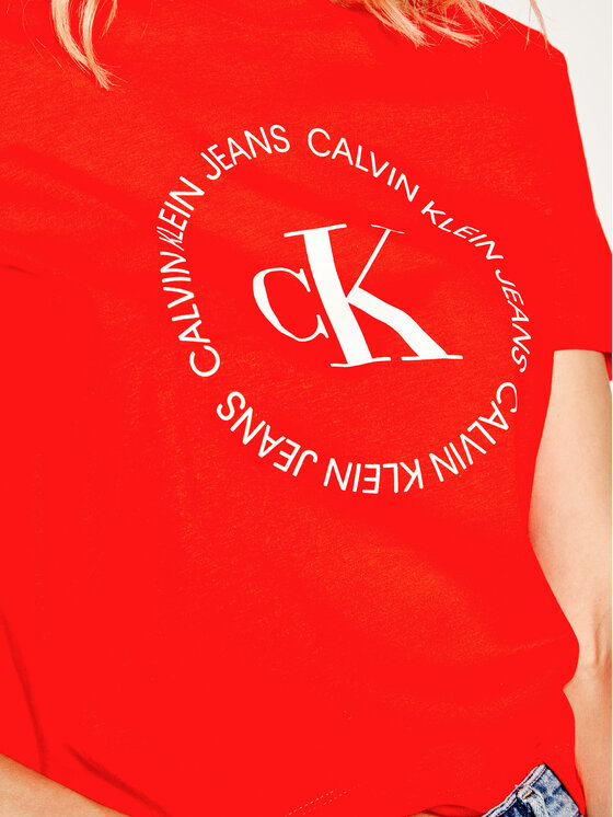 Calvin Klein Jeans Calvin Klein Jeans T-Shirt Straight Logo J20J213544 Czerwony Straight Fit
