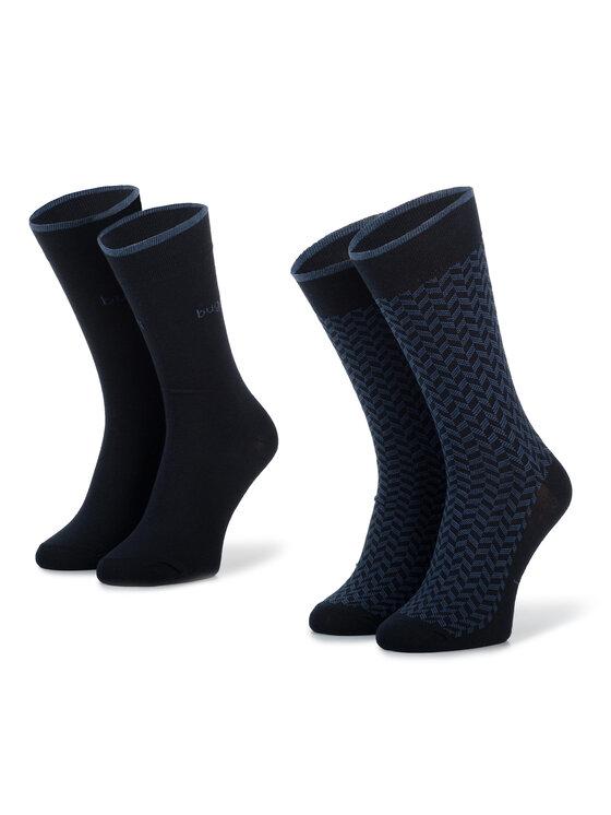 Bugatti Bugatti Unisex ilgų kojinių komplektas (2 poros) 6279 Tamsiai mėlyna