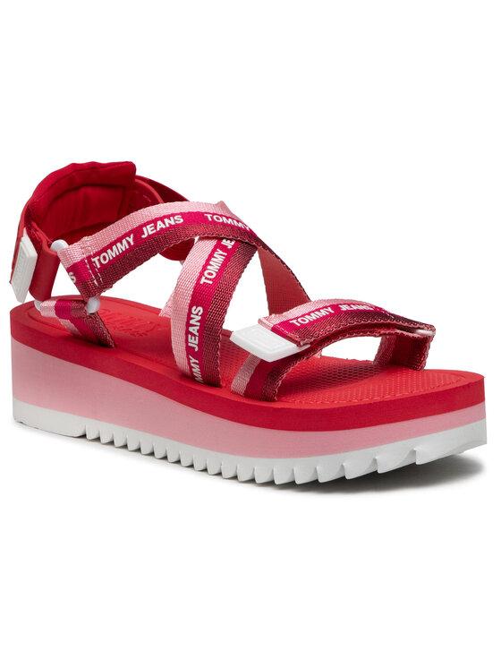 Tommy Jeans Basutės Lurex Webbing Strappy Sandal EN0EN01325 Rožinė