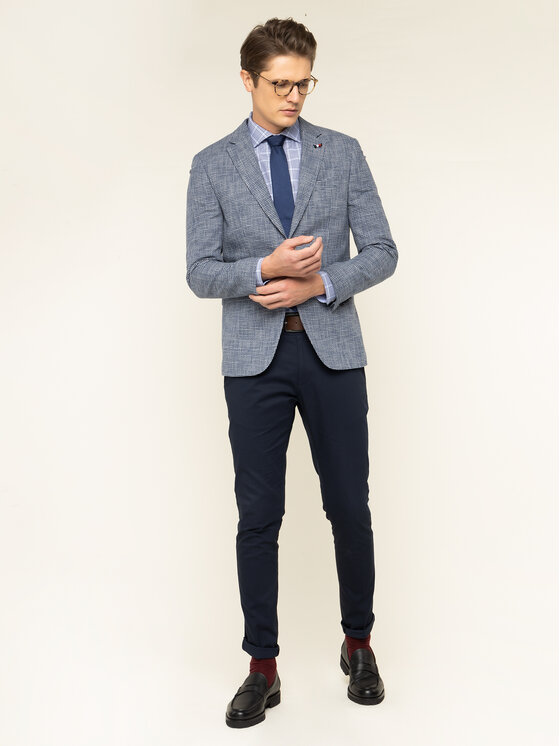 Tommy Hilfiger Tailored Tommy Hilfiger Tailored Ing Check Classic TT0TT06471 Kék Slim Fit