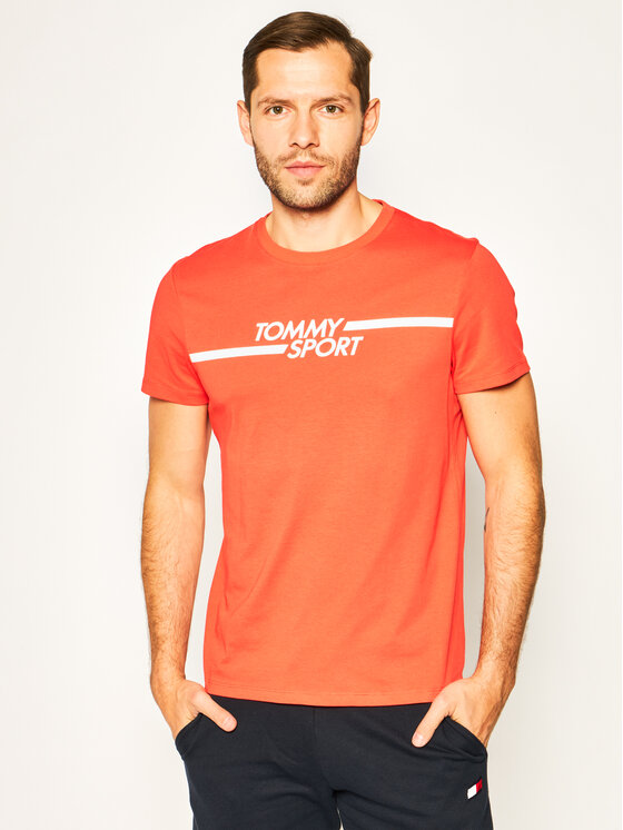 Tommy Sport Marškinėliai Core Chest Graphic S20S200444 Raudona Regular Fit