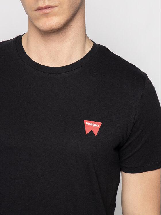 Wrangler Wrangler Tričko Sign Off Tee W7C07D301 Čierna Regular Fit