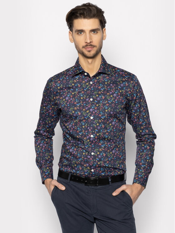 Eton Marškiniai 100000767 Tamsiai mėlyna Slim Fit