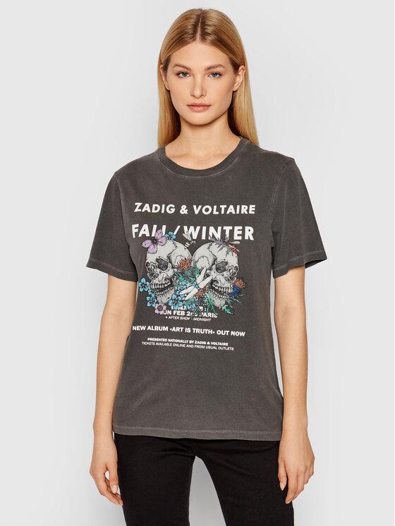 Zadig&Voltaire Marškinėliai Bella Compo Rock Skull WKTS1807F Pilka Regular Fit