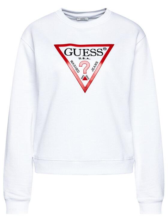 Guess Guess Mikina Vinyl Triangle Fleece W0BQ05 K8800 Bílá Relaxed Fit