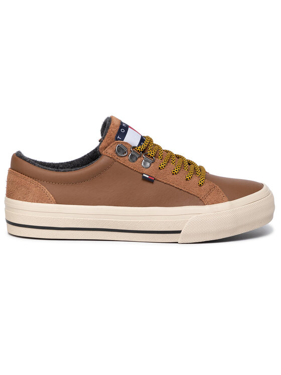 Tommy Jeans Tommy Jeans Sneakersy Warmlined Classic Lowtop Sneaker EM0EM00327 Hnedá