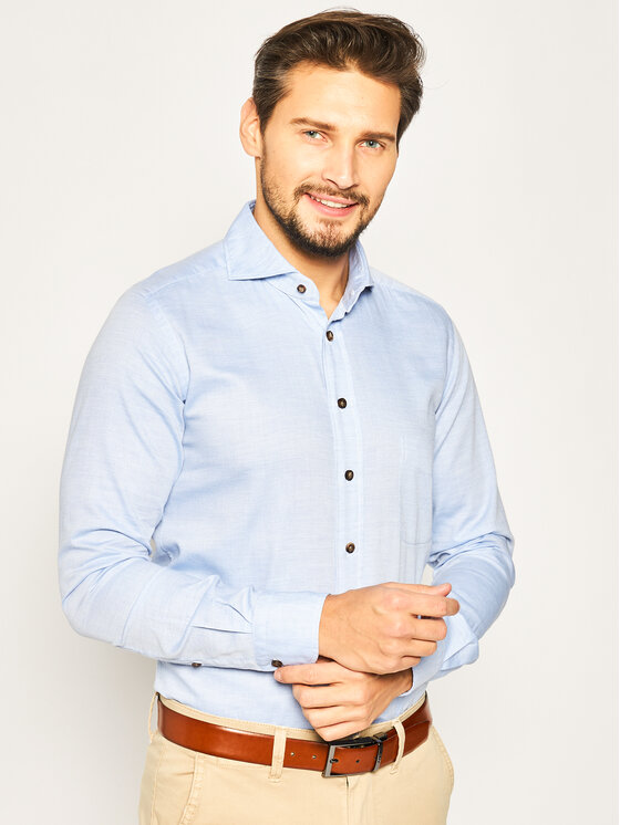 Emanuel Berg Marškiniai Harvard PEB47815 Mėlyna Slim Fit