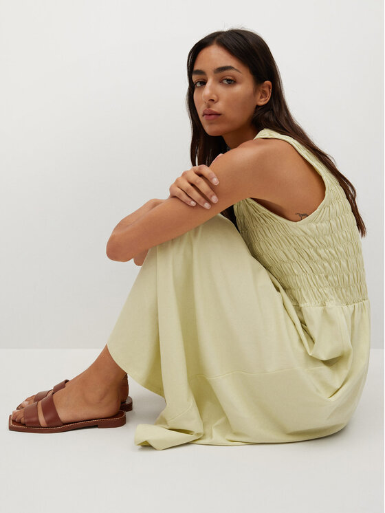 Mango Mango Sukienka letnia Sandi 87067135 Zielony Regular Fit