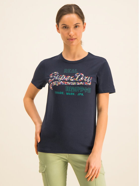 Superdry Superdry T-Shirt V Logo Floral Infill Entry W1000086A Granatowy Regular Fit