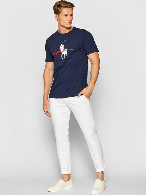 Polo Ralph Lauren Polo Ralph Lauren T-Shirt Ssl 710839050002 Granatowy Slim Fit