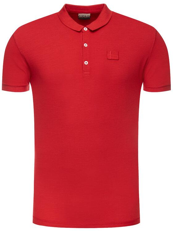 Napapijri Napapijri Тениска с яка и копчета Erzin N0YIFY Червен Regular Fit