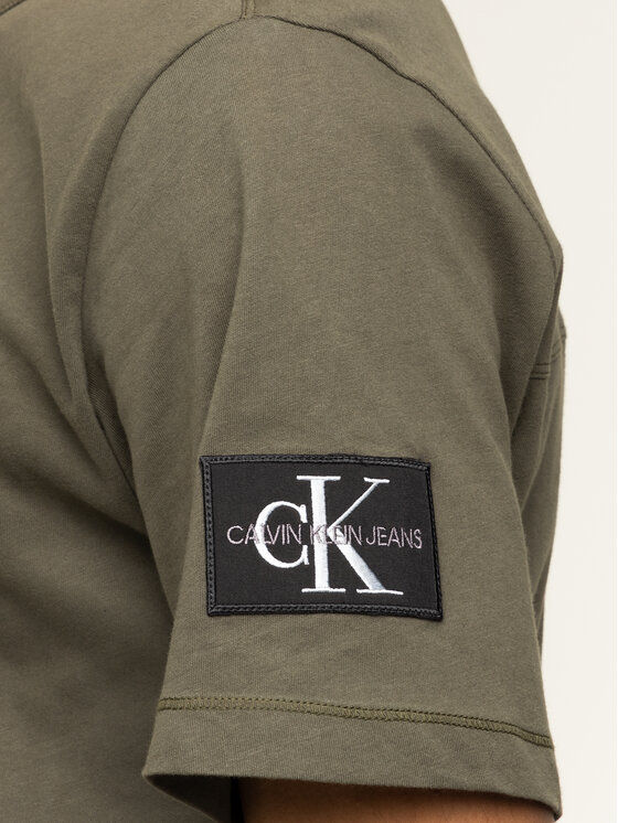 Calvin Klein Jeans Calvin Klein Jeans Póló Monogram Logo J30J314051 Zöld Regular Fit