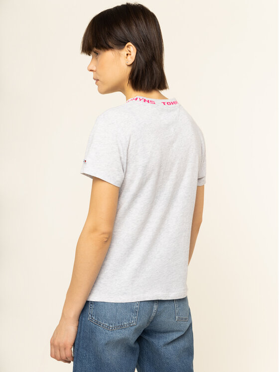 Tommy Jeans Tommy Jeans T-Shirt Branded Neck DW0DW07718 Szary Regular Fit