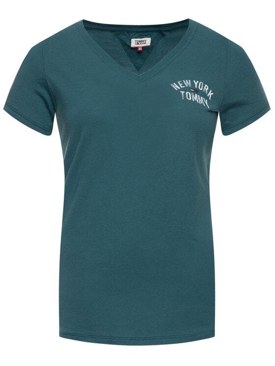 Tommy Jeans Tommy Jeans T-shirt New York DW0DW07343 Verde Slim Fit