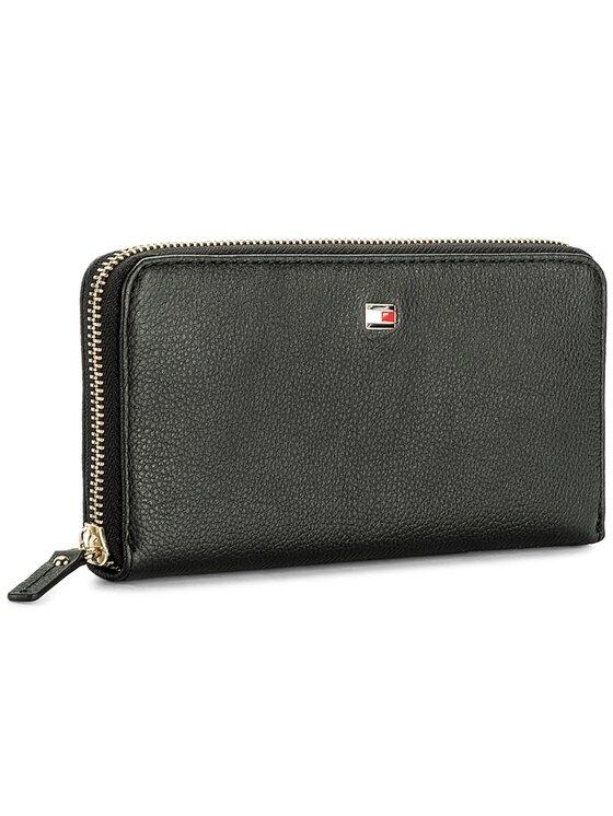 Tommy Hilfiger Tommy Hilfiger Duży Portfel Damski Basic Leather Large Za Wallet AW0AW04283 Czarny