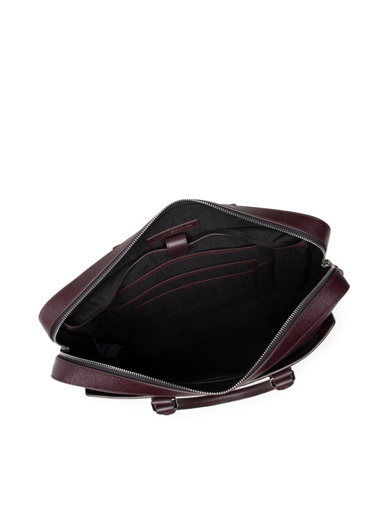 Tommy Hilfiger Tommy Hilfiger Torba na laptopa Business Leather Slim Comp Bag AM0AM07551 Bordowy