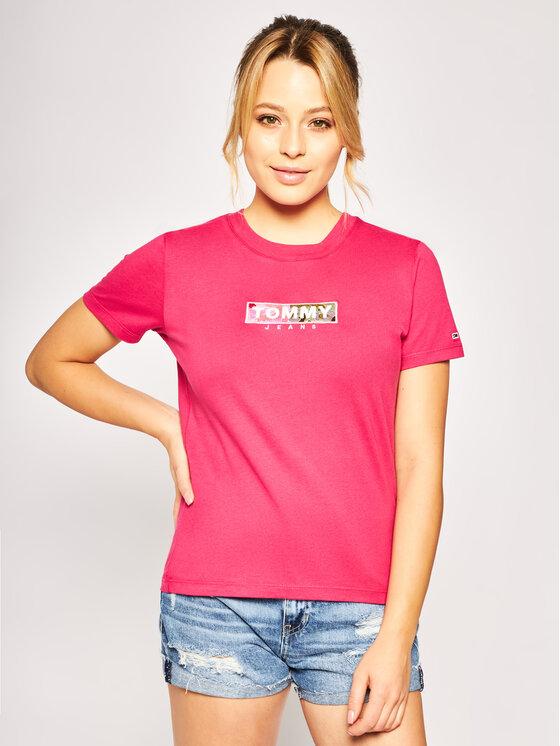 Tommy Jeans Tommy Jeans Tričko Camo Square DW0DW08054 Ružová Regular Fit