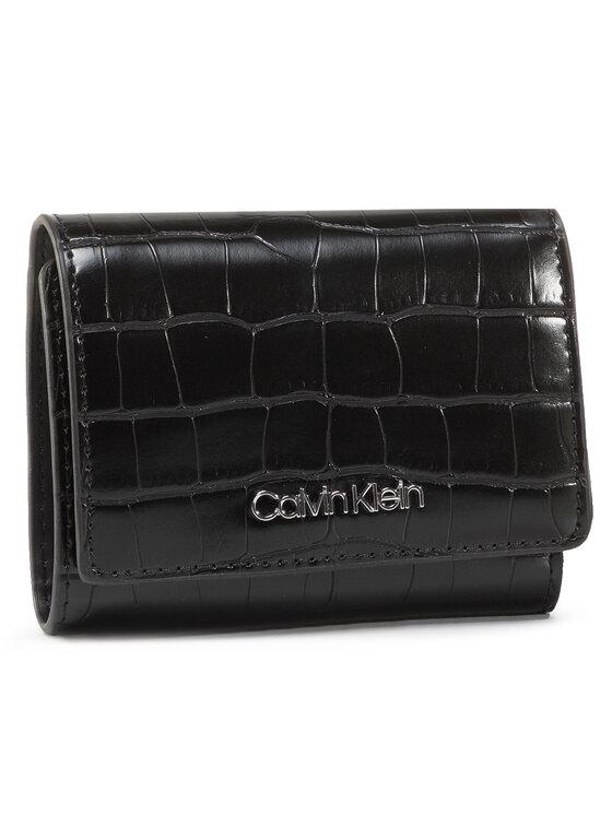 Calvin Klein Calvin Klein Mały Portfel Damski Ck Must Croc Trifold Xs K60K606795 Czarny