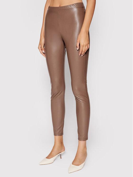Weekend Max Mara Dirbtinės odos kelnės Ranghi 37860616 Ruda Slim Fit