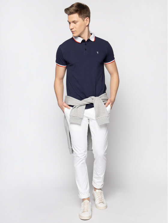 Trussardi Trussardi Тениска с яка и копчета 52T00491 Тъмносин Regular Fit