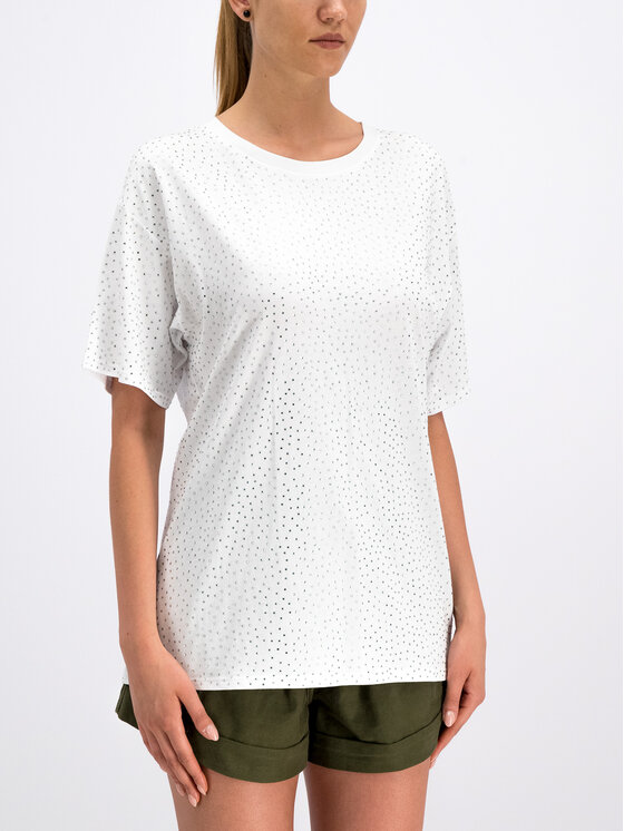 The Kooples The Kooples Тишърт Jersey And Strass FTSC18052K Бял Oversize