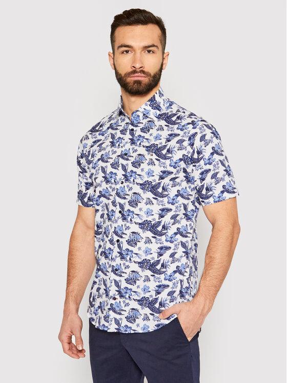 Tommy Hilfiger Tailored Marškiniai Large Floral Print MW0MW18449 Balta Regular Fit