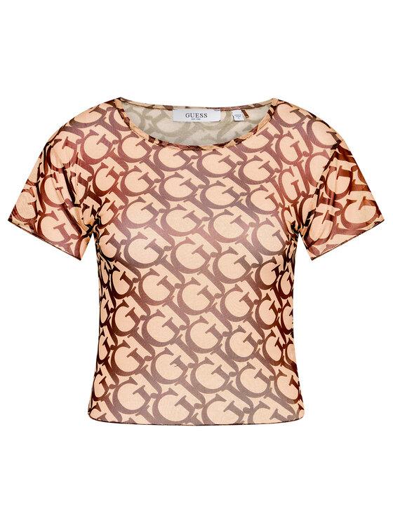 Guess Guess T-Shirt E1GI05 NT01L Brązowy Regular Fit