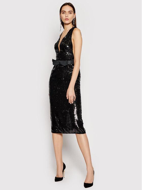 Elisabetta Franchi Sukienka koktajlowa AB-012-11E2-V520 Czarny Slim Fit