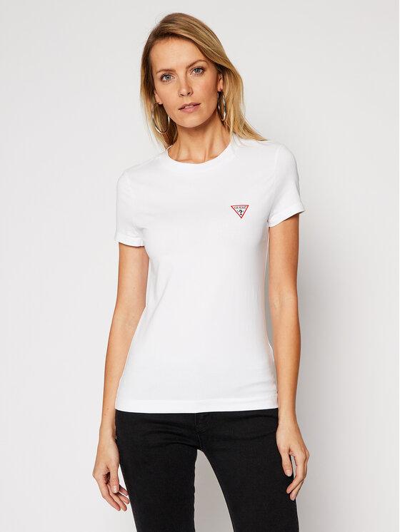 Guess Guess T-Shirt Mini Triangle W1RI04 J1311 Biały Slim Fit