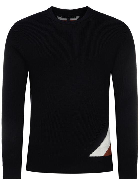 Tommy Hilfiger Tommy Hilfiger Sweter Diagonal Global MW0MW12480 Granatowy Regular Fit