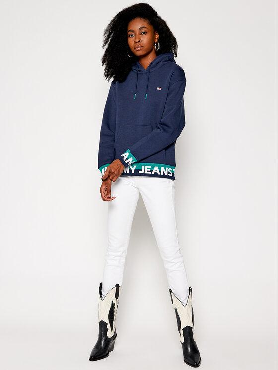 Tommy Jeans Tommy Jeans Mikina Branded Hem DW0DW08980 Tmavomodrá Loose Fit