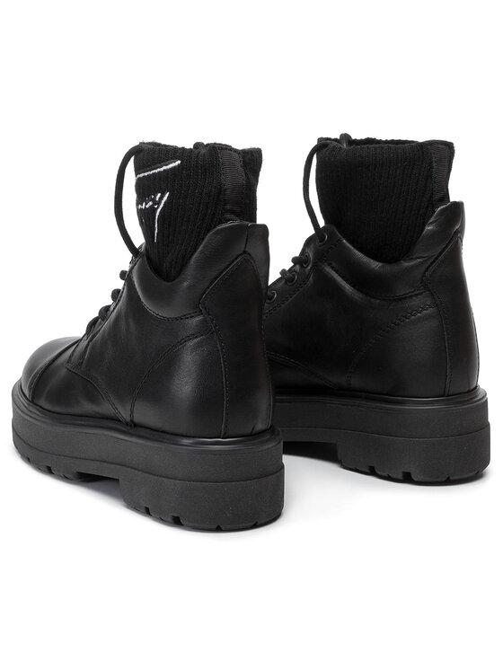 Tommy Jeans Tommy Jeans Turistická obuv Tommy Signature Flatform Boot EN0EN00678 Černá
