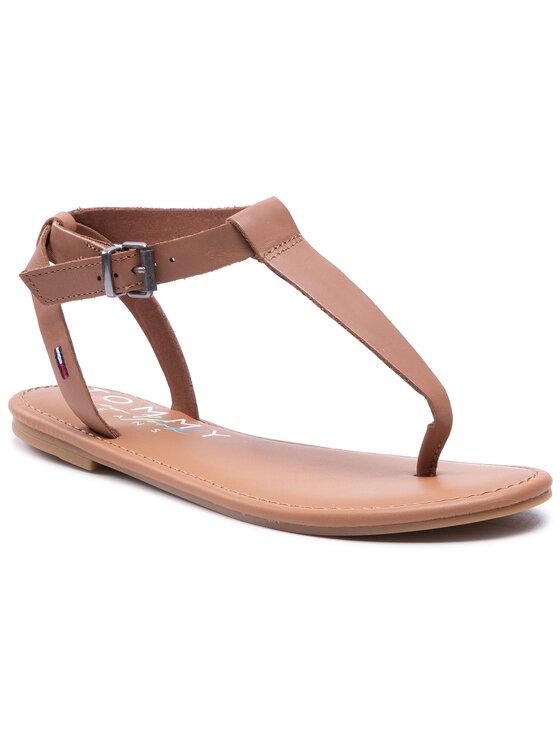 Tommy Jeans Basutės Essential Toe Post Flat Sandal EN0EN01316 Ruda