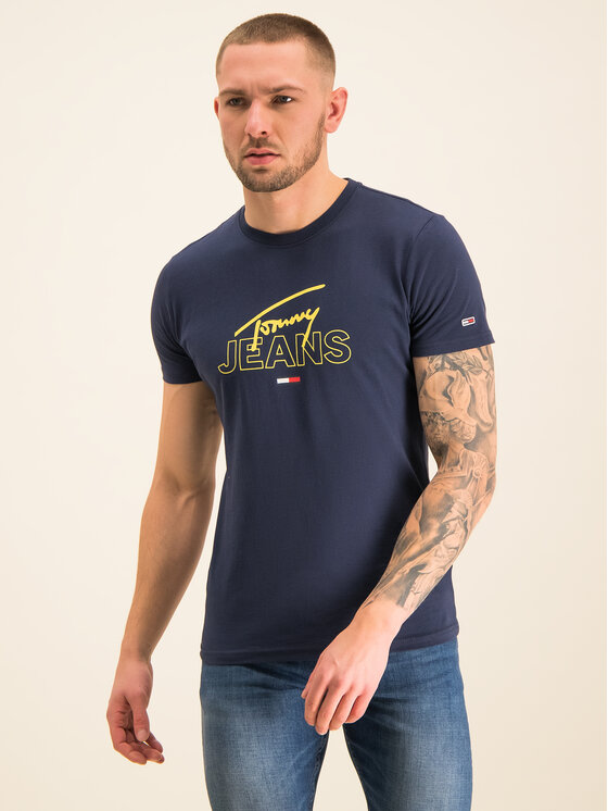 Tommy Jeans Tommy Jeans Tričko Script DM0DM07011 Tmavomodrá Regular Fit