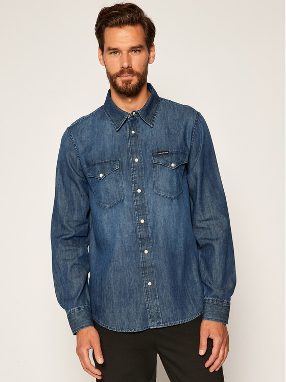 Calvin Klein Jeans Calvin Klein Jeans Πουκάμισο Western J30J314392 Σκούρο μπλε Regular Fit