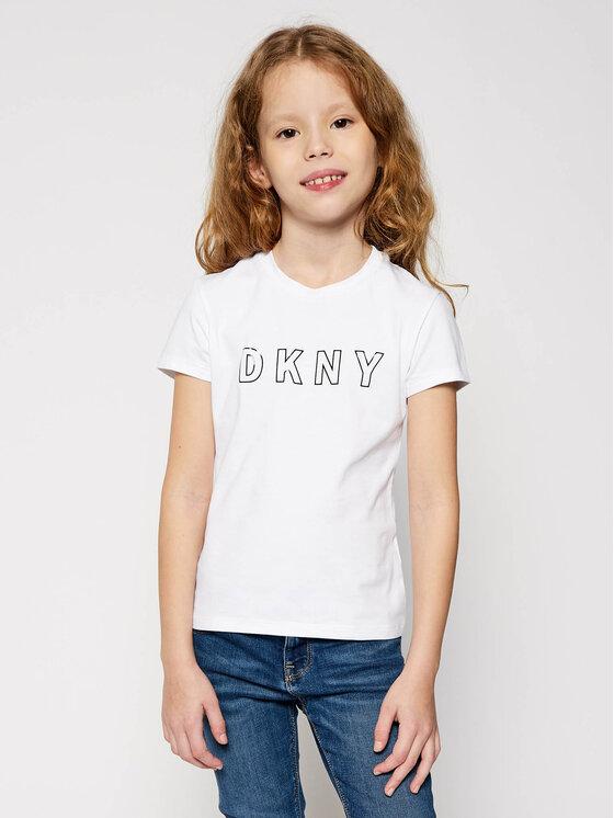DKNY DKNY T-Shirt D35Q77 S Biały Regular Fit