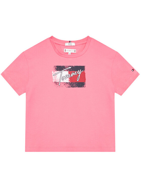 Tommy Hilfiger Tommy Hilfiger T-Shirt Flag Print KG0KG05909 D Różowy Regular Fit
