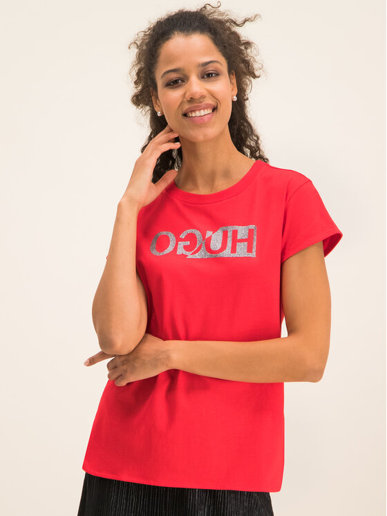 Hugo Hugo T-Shirt Dijala 50419780 Czerwony Slim Fit