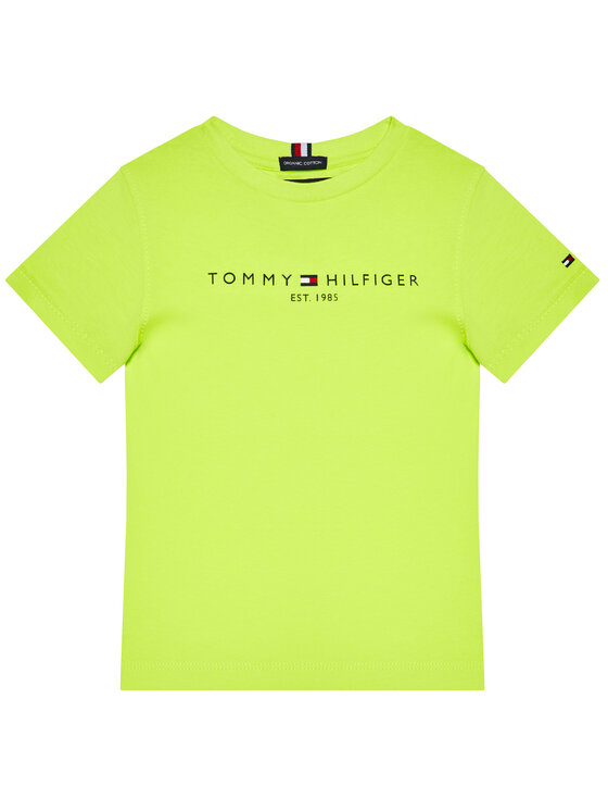 Tommy Hilfiger Tommy Hilfiger T-Shirt Essential Logo KB0KB05844 M Zielony Regular Fit